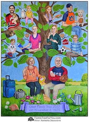 Custom Family Tree Art For Mom's 65th Birthday Art Print by Natasha Sazonova