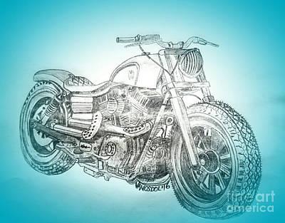Drawing - Custom Harley Davidson - Blue Spotlight Abstract by Scott D Van Osdol