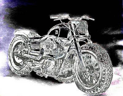 Drawing - Custom Harley Davidson - Night Streets Abstract by Scott D Van Osdol