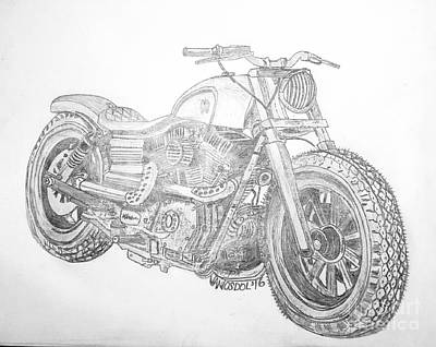 Drawing - Custom Harley Davidson - Original Graphite Sketch by Scott D Van Osdol