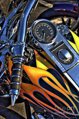 Corky Willis And Associates Atlanta Photograph - Custom Harley Tank With Flames by Corky Willis Atlanta Photography