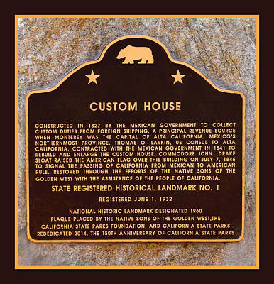 Plaque Painting - Custom House Plaza Monterey California by Floyd Snyder