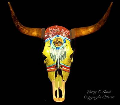 Painted Buffalo Skull Painting - Custom Painted Steer Skulls For Sale by Larry Lamb