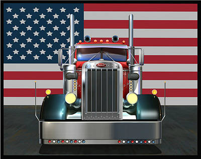 Red White And Blue Digital Art - Custom Peterbilt 2 by Stuart Swartz