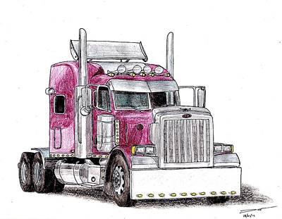 Custom Peterbilt Truck Cab Art Print by Dan Poll