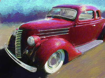 Digital Art - Custom Red 1936 Ford Coupe by David King
