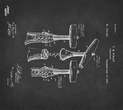 Digital Art - Custom Size 1883 Wine Corckscrew Patent Artwork - Gray 43x48 by Nikki Marie Smith