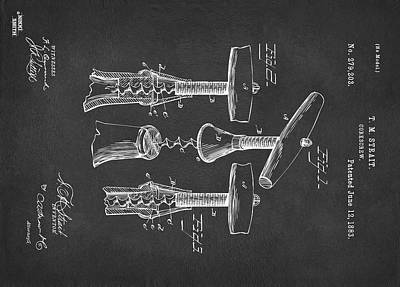 Custom Size 1883 Wine Corckscrew Patent Artwork - Gray 43x60 Original
