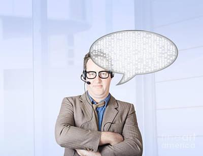 Customer Service Man Talking Through Speech Icon Print by Jorgo Photography - Wall Art Gallery