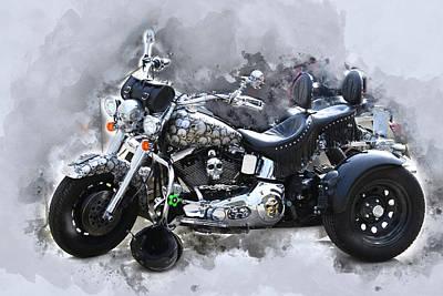 Customized Harley Davidson Art Print by Anthony Murphy