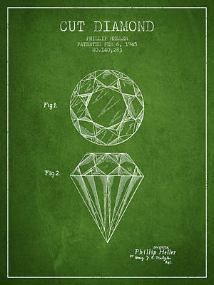 Cut Drawing - Cut Diamond Patent From 1873 - Green by Aged Pixel