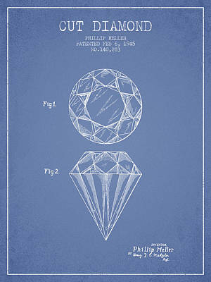 Diamond Drawing - Cut Diamond Patent From 1873 - Light Blue by Aged Pixel