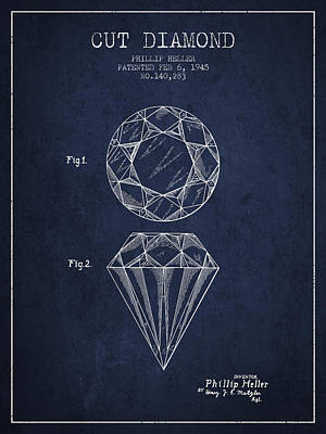 Mine Drawing - Cut Diamond Patent From 1873 - Navy Blue by Aged Pixel