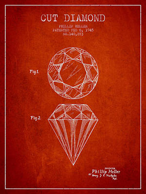 Cut Drawing - Cut Diamond Patent From 1873 - Red by Aged Pixel