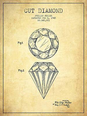 Diamond Drawing - Cut Diamond Patent From 1873 - Vintage by Aged Pixel