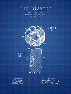 Cut Diamond Patent From 1910 - Blueprint Art Print by Aged Pixel