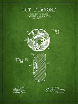 Earrings Digital Art - Cut Diamond Patent From 1910 - Green by Aged Pixel