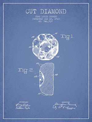 Cut Diamond Patent From 1910 - Light Blue Art Print by Aged Pixel