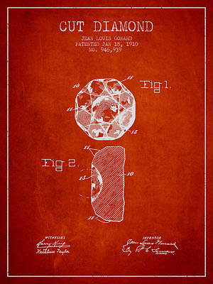 Cut Diamond Patent From 1910 - Red Art Print by Aged Pixel