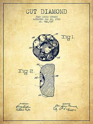 Cut Diamond Patent From 1910 - Vintage Art Print