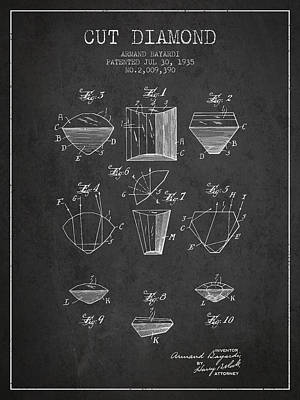 Diamond Drawing - Cut Diamond Patent From 1935 - Charcoal by Aged Pixel