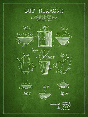 Cut Drawing - Cut Diamond Patent From 1935 - Green by Aged Pixel