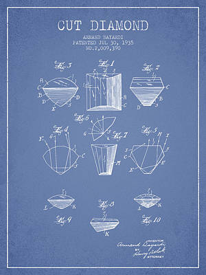 Cut Drawing - Cut Diamond Patent From 1935 - Light Blue by Aged Pixel