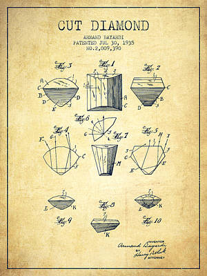 Cut Drawing - Cut Diamond Patent From 1935 - Vintage by Aged Pixel