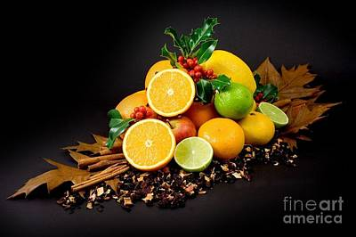 Photograph - Cut Lemons Oranges Apples Holly by R Muirhead Art