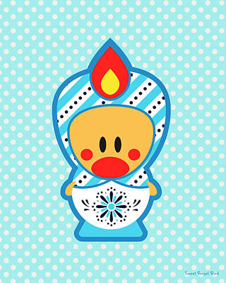 Cute Art - Blue Polka Dot Folk Art Sweet Angel Bird In A Matryoshka Costume Wall Art Print Art Print