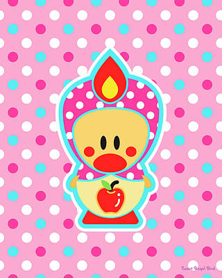 Digital Art - Cute Art - Sweet Angel Bird Apple Matryoshka Pink Polka Dot Wall Art Print by Olga Davydova