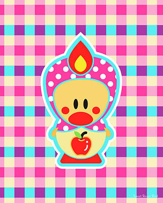 Digital Art - Cute Art - Sweet Angel Bird Apple Matryoshka Plaid Wall Art Print by Olga Davydova