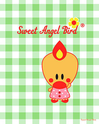 Digital Art - Cute Art - Sweet Angel Bird Gingham Print by Olga Davydova