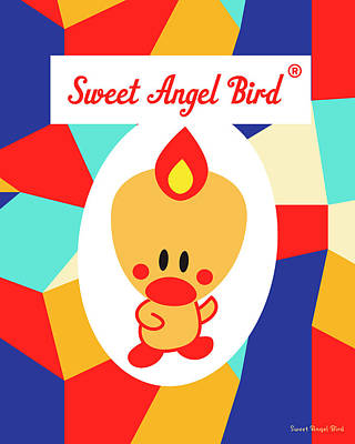 Cute Art - Sweet Angel Bird Multicolor Colorblock Logo Wall Art Print Art Print