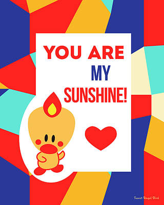 Cute Art - Sweet Angel Bird Multicolor Colorblock You Are My Sunshine Wall Art Print Art Print