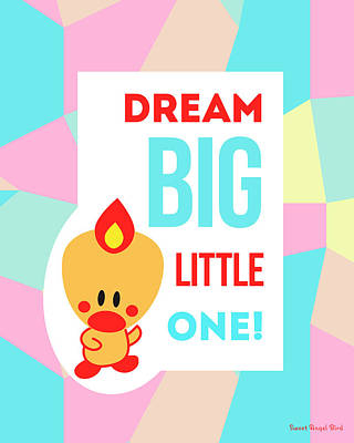 Cute Art - Sweet Angel Bird Pastel Colorblock Dream Big Little One Wall Art Print Art Print