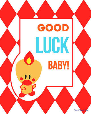 Cute Art - Sweet Angel Bird Red Good Luck Baby Circus Diamond Pattern Wall Art Print Art Print