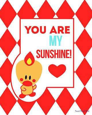 Cute Art - Sweet Angel Bird Red You Are My Sunshine Circus Diamond Pattern Wall Art Print Art Print