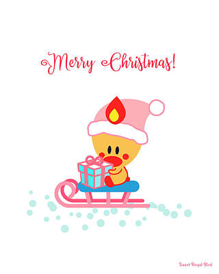 Digital Art - Cute Art - Sweet Angel Bird Sitting On A Sled Christmas Art by Olga Davydova