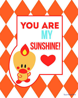 Cute Art - Sweet Angel Bird Terra Cotta You Are My Sunshine Circus Diamond Pattern Wall Art Print Art Print