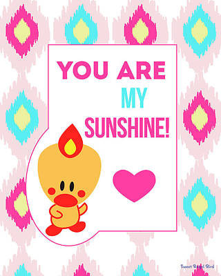 Cute Art - Sweet Angel Bird You Are My Sunshine Ikat Wall Art Print Art Print