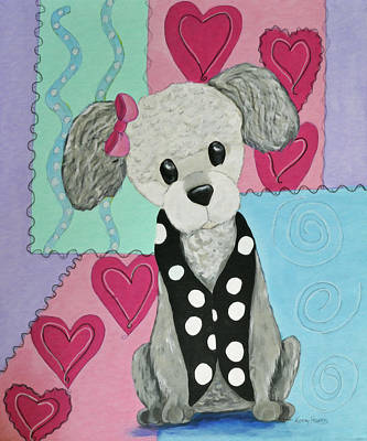 Painting - Cute As A Button Poodle by Kenny Francis