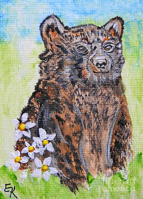 Painting - Cute Baby Black Bear Art by Ella Kaye Dickey