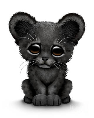 Black Panther Digital Art - Cute Baby Black Panther Cub by Jeff Bartels