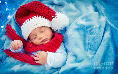 Photograph - Cute Baby Boy Sleeping In Santa Hat by Anna Om