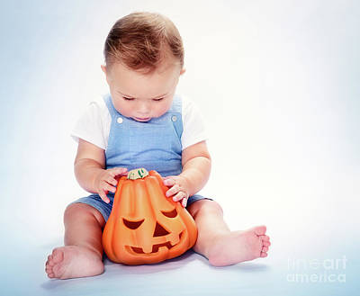 Photograph - Cute Baby Boy With Halloween Pumpkin by Anna Om