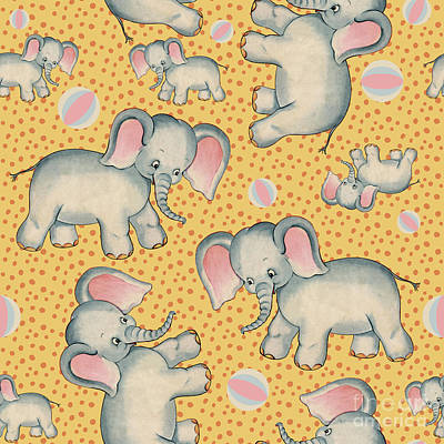 Childrens Story Book Painting - Cute Baby Elephant Pattern Vintage Illustration For Children by Tina Lavoie