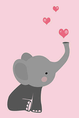 Animals Digital Art - Cute baby elephant with hearts by Mihaela Pater
