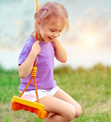 Photograph - Cute Baby Girl On The Swing by Anna Om