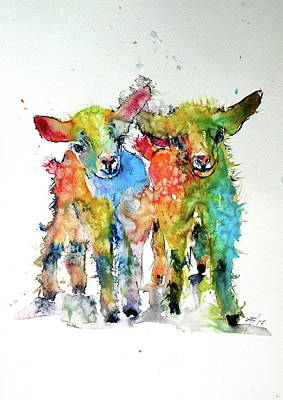 Painting - Cute Baby Goats by Kovacs Anna Brigitta